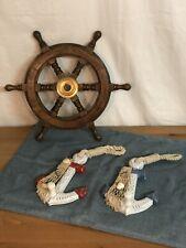 "12"" Wood Ship Wheel ~ Nautical Themed Wall Decor Lot 2 Anchor Wall Hooks Shells"
