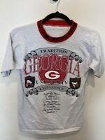 Vintage 1993 UGA University of Georgia Bulldogs Football Gray Ringer Shirt Large