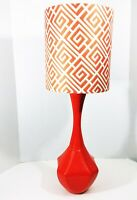 Vintage Mid Century Orange Ceramic Table Lamp with Shade Hollywood Regency MCM