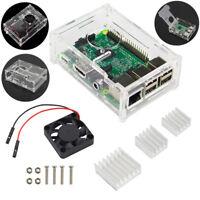 Acrylic Case Enclosure Box +Cooling Fan +3 Heatsink Kit For Raspberry Pi 2/3/ B+