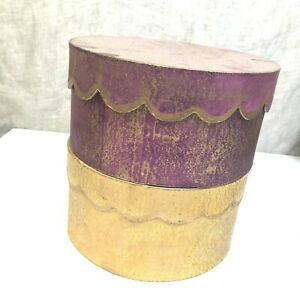 "2 Round Faux Painted Boxes 9"" Decorative Storage, Gold Purple Hat Box Old World"