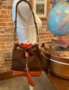 Dooney & Bourke Brown T'moro Suede Small Drawstring Bag New Bucket