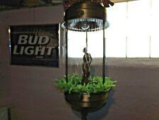 "Vintage Hanging Oil Rain Lamp Motion Nude Lady Goddess 1970s Brass 36"" VIDEO"