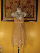 NWT bebe Asymmetric Sequin & Bead Tan/Nude Silk Dress Size S
