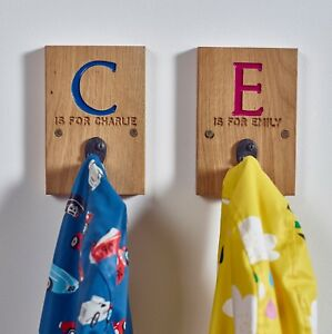 Oak Initial Coat Pegs - Children's Personalised Hook - Coat Hanger Country Home