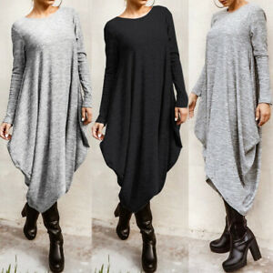 ZANZEA Womens Oversize Long Sleeve Casual Loose Jumper Pullove Midi Shirt Dress