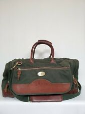 Orvis Green Canvas Leather Fishing Hunting Carry on Duffle Bag