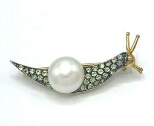 Brooch Snail Peridot, Pearl & Diamonds Gold & Silver