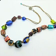 """Beautiful Glass Bead Necklace Art Glass Multicolor Boho Handcrafted Cord 18""""-20"""""""