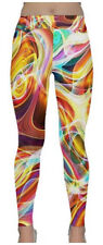 COWCOW classic yoga leggings 2XL UK 22/24 multicolour abstract swirl NEW cow cow