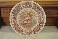 """Alfred Meakin China FAIR WINDS Brown Staffordshire England 10-5/8"""" Dinner Plate"""