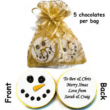 1 x bag of 5 Personalised SNOWMAN FACE Christmas Belgian CHOCOLATE COINS Gift