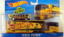 Hot Wheels Yellow Pencil Pusher ( Holder & Sharpener )  Hauling Rig Truck w/ Bus
