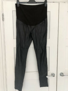Black Faux Leather H&M Maternity Trousers