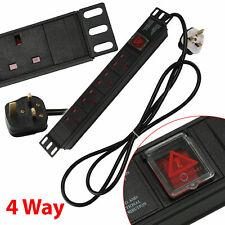 1U 4 Way 13A PDU Extension Rack Switch Horizontal Mount Power Distribution Unit