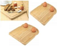 2 x Breakfast Board Serving Tray Cheese Egg Holders Cup Toast Shape Rubberwood