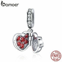 BAMOER .925 Sterling silver Charm A Gift of Love With CZ For Bracelet Jewelry