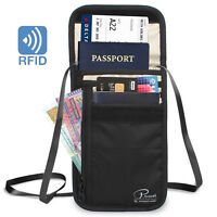 Waterproof RFID Blocking Neck Wallet Pouch Purse Cards Money Passport Holder