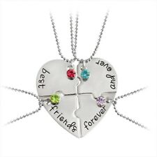 """4PCS New """"Best Friends forever And Ever"""" Heart Shape Four Parts Splice Necklace"""