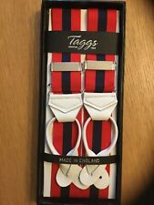 TAGGS PREMIUM RED/NAVY RIGID STRIPE LEATHER END BRACES