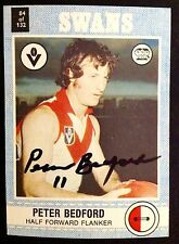 1977 SCANLENS VFL CARD PERSONALLY SIGNED BY PETER BEDFORD SOUTH MELBOURNE