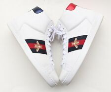 GUCCI Ace Bee White Blue Red Web High-Top Mens Sneakers 9 G/ 10 US