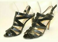 Manolo Blahnik Womens 9 40 Black Leather Ankle Strap Cage Slingback Heels Shoes
