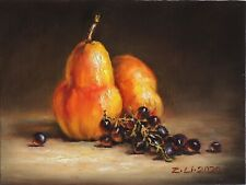 """New Original Oil Painting Still Life Realism Pears & Grapes 9 x12"""" Signed by Z.L"""