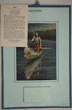 Original James Arthur 1920 Moonlit Indian Maiden Necia Rare Advertising Calendar