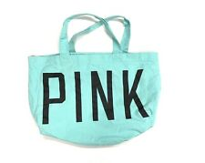 Victoria Secret PINK Shopper Tote Handbag TEAL Color Spell Out 24x17
