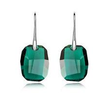 Smaragd Grün Kristall 925 Silber Lange Ohrringe