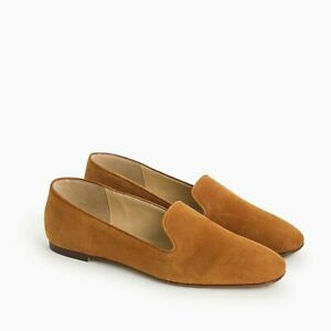 J.CREW Solid Brown Suede Loafers Flats 8.5 smoking slipper NWBox $158