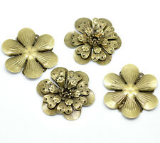 New 10 Bronze Tone Filigree Flower Embellishment Scrapbook Findings 4.9x4.5cm
