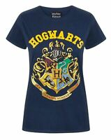 Harry Potter Hogwarts Gryffindor House Crest Women's Ladies Navy T-Shirt Top