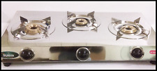 STAINLESS STEEL STAND THREE 3 BRASS BURNER GAS STOVE COOKTOP HOB LPG PROPANE