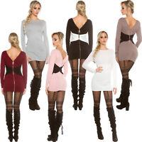 2-Wege Strickkleid Strick Kleid Minikleid Pullikleid Long Pullover Pulli S 34 36