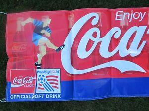"""Rare 1994 FIFA WORLD CUP Soccer Championship COCA-COLA 116"""" x 35"""" Plastic Banner"""