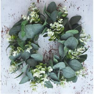 Artificial Silk Eucalyptus Fake Wreath Nature Green Plant Home Door Deco