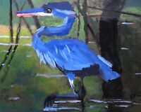 Original Abstract Realism Jeff Barnes 20x16 Acrylic Painting Blue Heron