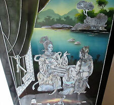 DECORATION TABLEAU ASIATIQUE SUR BOIS LAQUE POLYCHROME NACRE   ASIAN DECORATION