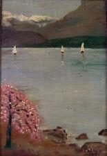 Impressionniste peinture huile-Seeland tige avec voile bateaux Fjord-A. Tolmer