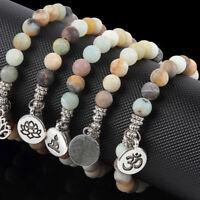 Men Womens Matte Amazonite Stone OM Lotus Buddha Chakra Mala Beads Yoga Bracelet