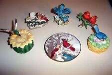 6 Lot Vtg Bird Lefton 03306 Young'S Figurines Plate Hummingbird Trinket Box 2574