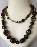 1930s Agate Necklace Vintage Jewellery Jewelry Retro Beaded Beads Old 24 Inches