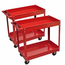 vidaXL 2x Workshop Tools Trolley 100kg with 2 Shelves Garage Carrier Cart