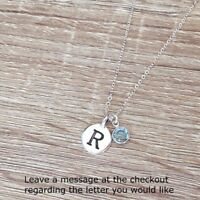 Personalized Necklace Antique Silver Letter Pendant Initial Birthstone Jewelry