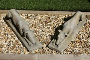 Lovely Pair of Portland Stone Whippets