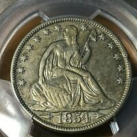 1854-O SILVER SEATED HALF DOLLAR WITH ARROWS PCGS XF DETAILS