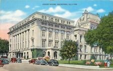 Rockford Illinois~Winnebago County Court House~1930s Cars~Linen Postcard