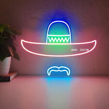 AOOS CUSTOM Mexico Sombrero Mustache Dimmable LED Neon Signs For Wall Decor